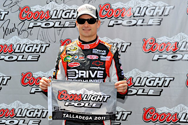 Jeff Gordon posing for a photo op at Talladega in 2011. He would go on to finish 3rd in a very tight race.